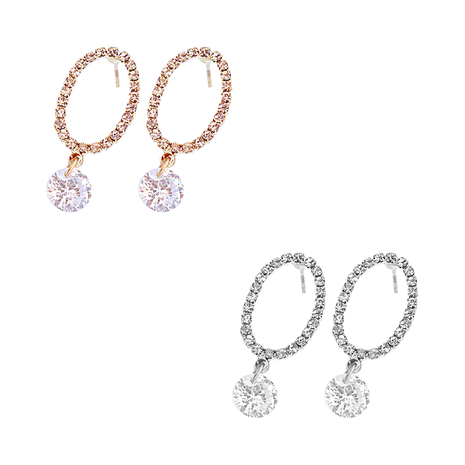 Rhinestone Encrusted Faux Diamond Earrings