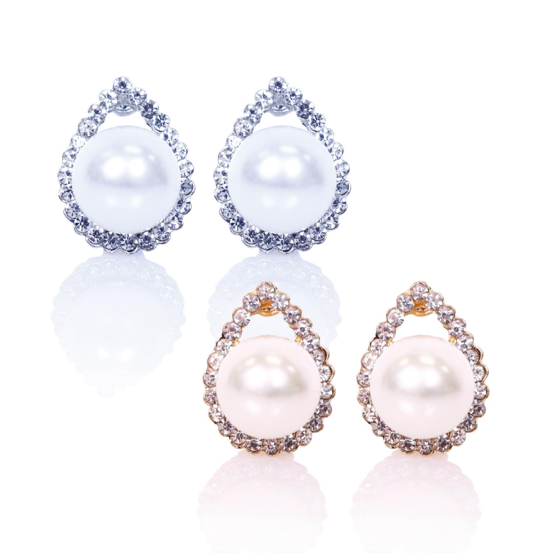 Faux Pearl Tear Drop Clip On Earrings